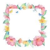 Watercolor square frame of colorful flowers. Royalty Free Stock Image