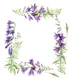 Watercolor square frame of flowers bells royalty free illustration