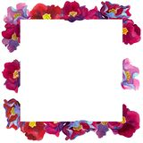 Watercolor  square frame of flowers with pink and red petals royalty free illustration