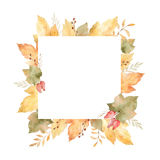 Watercolor square frame of leaves and branches isolated on white background. Stock Image