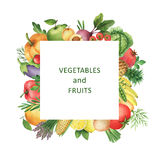 Watercolor square frame of vegetables and fruits. Stock Photography