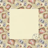 Watercolor square frame with vintage objects royalty free illustration