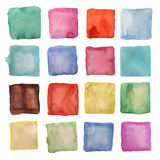 Watercolor square patches or buttons isolated Royalty Free Stock Image