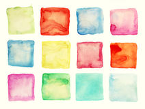 Watercolor square patches or buttons isolated Stock Photos