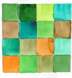 Watercolor squares abstract background. Green,brown and orange abstract watercolor background squares Royalty Free Stock Images