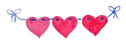 Watercolor St. Valentine`s Day `Hearts of love`garland. Hand-drawn 3 watercolor stylized hearts on ribbon. Can be used as single element or in compositions stock illustration