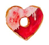 Watercolor St. Valentine`s Day `Sweet Valentine`. Hand-drawn `Sweet Valentine` donut with icing, on white background. Originally made in watercolor and then Royalty Free Stock Image