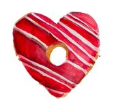 Watercolor St. Valentine`s Day ``Sweet Valentine``. Hand-drawn `Sweet Valentine` donut with icing, on white background. Originally made in watercolor and then Stock Photo