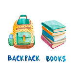 Watercolor stack of books and backpack Stock Photo