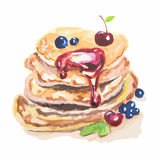 Watercolor stack of pancakes. Stock Images