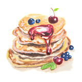 Watercolor stack of pancakes. Royalty Free Stock Photography
