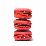 A watercolor of a stack of three pink strawberry macaroons on a. A digital watercolor of a stack of three pink strawberry macaroons on a white background Stock Illustration