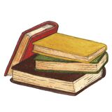 Watercolor stack of vintage books illustration