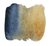 Abstract watercolor stain from a mixture of indigo and ocher, bl stock images