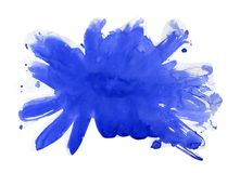 Watercolor stains and blots. Blue watercolor background.  Stock Image