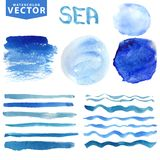 Watercolor stains,brushes,waves.Blue ocean,sea Royalty Free Stock Photography