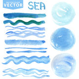 Watercolor stains,brushes,waves.Blue sea,ocean. Summer set Stock Image