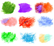 Watercolor stains collection on white background Stock Photos
