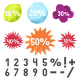 Watercolor stains, starburst and boom sign Royalty Free Stock Photo