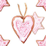 Watercolor star and heart ginger biscuit seamless pattern Stock Photo