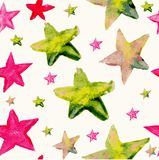 Watercolor star seamless pattern Royalty Free Stock Images