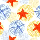 Watercolor starfish and dots seamless patern illustrations stock illustration