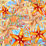 Watercolor starfishes and reefs seamless pattern. Watercolor starfishes and coral reefs on sea waved background. Hand painted illustration for marine design. Sea Royalty Free Stock Photography