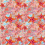 Watercolor starfishes and reefs seamless pattern. Watercolor starfishes and coral reefs on sea waved background. Hand painted illustration for marine design. Sea Stock Images