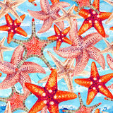 Watercolor starfishes seamless pattern. Watercolor starfishes on sea waved background. Hand painted illustration for marine design. Sea and ocean design Stock Photo