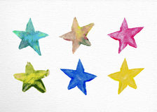 Watercolor stars set hand drawn illustration Royalty Free Stock Photo