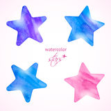 Watercolor stars set Royalty Free Stock Image