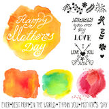 Watercolor steins and headline.Mothers day template Stock Photos