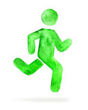 Watercolor stickman, running man Stock Photos