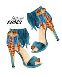 Watercolor stiletto heel shoes painting. Watercolor stiletto heel shoes isolated on white background. Fashion high heels shoes with feathers. Watercolor feather Royalty Free Stock Photos