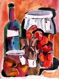 Watercolor still life with autumn harvest Royalty Free Stock Images