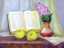 Watercolor still life. Book, lilacs in a vase and apples. Watercolor still life. Book in the form of a frame, a bouquet of lilacs in a vase and green apples on Stock Images