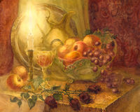 Watercolor still life. Burning candle illuminates fruits, flower Royalty Free Stock Image