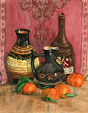 Watercolor still life with ceramic vases and mandarins. Royalty Free Stock Images