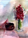 Watercolor still life with cup and a bouquet of hyacinths. Cup and a bouquet of hyacinths watercolor still life royalty free illustration