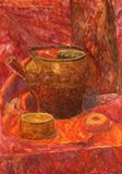 Watercolor still life. With drapery Royalty Free Stock Photo