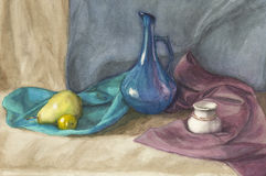 Watercolor still life with drapery and fruit Royalty Free Stock Photography
