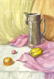 Watercolor still life with drapery Stock Image