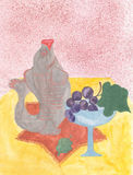 Watercolor still life with  fish, glass and grapes. On the yellow table Royalty Free Stock Images