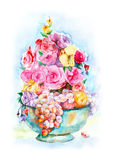 Watercolor still life fruit and flowers. Royalty Free Stock Images