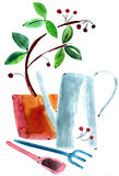 Watercolor still life with lake Stock Images