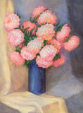 Watercolor Still Life. Pink asters in dark blue vase Stock Photos
