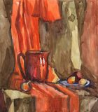 Watercolor still life with pitcher and fruit on a background of orange draping. Stock Image