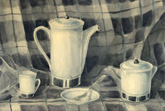 Watercolor still life of a teapot Stock Photos
