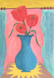 Watercolor  still life of tulips in a vase. Watercolor tulips in blue pot Royalty Free Stock Photography
