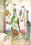 Watercolor still life with wine bottles. Watercolor still life with bottles in old paper vector illustration